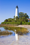 St Marks Lighthouse with Reflection, National Historic Site, St Marks National Wildlife Refuge, Gulf Coast, Florida Panhandle, Gulf of Mexico, Wakulla County, FL