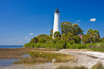 St Marks Lighthouse with Salt Marsh and Beach, National Historic Site, St Marks National Wildlife Refuge, Gulf Coast, Florida Panhandle, Gulf of Mexico, Wakulla County, FL
