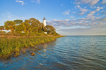 Early Evening Light on St Marks Lighthouse and Apalachee Bay, National Historic Site, St Marks National Wildlife Refuge, Gulf Coast, Florida Panhandle, Gulf of Mexico, Wakulla County, FL
