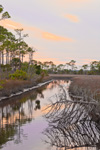 Creek through Marsh at Sunset, St Marks National Wildlife Refuge, Gulf Coast, Florida Panhandle, Gulf of Mexico, Wakulla County, FL