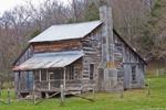 Cedar Log House at Parker-Hickman Farmstead Historic District, Buffalo National River, Ozark Mountains, near Erbie, Newton County, AR