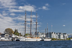 """Tall Ship Schooners """"Mystic"""" and """"Argia"""" at Schooner Wharf with Residences in Background, Mystic River, Mystic, Groton, CT"""