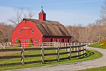 Big Red Horse Barn at Gypsy Woods Farm in Early Spring, North Stonington, CT