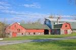 Fieldstone and Red Wood Barns in Spring, Fieldstone Farm, Princeton, MA