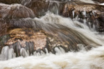Closeup View of Water Flowing over Rocks in Gulf Brook in Spring Freshet, Athol, MA