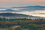 Early Morning Ground Fog over Hills and Forests of Quabbin Reservation in Spring, View from Rt 202 Overlook, New Salem, MA