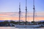 """Tall Ship Schooner """"Mystic"""" at Sunrise at Schooner Wharf, Mystic River, Mystic, Groton, CT"""