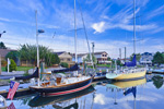 Colorful Yawl and Sloop at Brewer Pilot's Point Marina, Patchogue River, Duck Island Roads, Westbrook, CT