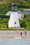 Father and Son on Beach at Sandy Point Lighthouse along Shoreline of Prudence Island, Narragansett Bay, Portsmouth, RI