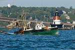 "Fishing Trawler ""Alicia"" in Narragansett Bay near Jamestown Bridge and Plum Beach Light, North Kingstown, RI"