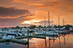 Sunset over Boats at Brewer Pilot's Cove Marina, Patchogue River, Duck Island Roads, Westbrook, CT
