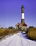 Fire Island Lighhouse in Winter with Snow-covered Access Road, Fire Island National Seashore, Long Island, Islip, NY