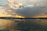 Approaching Storm over Boats at Moorings in Mystic Harbor, Mystic River, Noank, Groton, CT