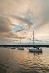 Retreating Storm over Boats at Moorings in Mystic Harbor, Mystic River, Noank, Groton, CT