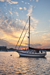 """Bayfield 32 Cutter-rigged Sailboat """"Brown Eyes"""" on Pine Island Bay at Sunset, off Fishers Island Sound, Groton, CT"""