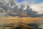 View of Cumulus Clouds in Early Morning over Atlantic Ocean near Duck Island, Isles of Shoals, Kittery, ME