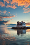 Rockland Breakwater Light at Sunset, Rockland Harbor, West Penobscot Bay, Rockland, ME