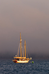 "Schooner ""Koukla"" in Approaching Fog at Sunset in Rockland Harbor, Rockland, ME"