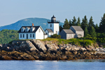 View of Indian Island Light from West Penobscot Bay with Ragged Mountain in Background, Rockport, ME