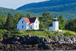 View of Curtis Island Light from West Penobscot Bay with Camden Hills in Background, Camden, ME