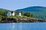 View of Curtis Island Light and Camden Hills from West Penobscot Bay, Camden, ME