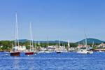 Boats at Moorings in Camden Harbor, West Penobscot Bay, Camden, ME