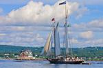 "Schooner ""Stephen Taber"" under Full Sail Passing Rockland Breakwater Light, Entering Rockland Harbor from West Penobscot Bay, Rockland, ME"