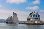 "Schooner ""Nathaniel Bowditch"" under Full Sail near Rockland Breakwater Light, Leaving Rockland Harbor and Entering West Penobscot Bay, Rockland, ME"
