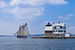 "Schooner ""American Eagle"" under Full Sail near Rockland Breakwater Light, Leaving Rockland Harbor and Entering West Penobscot Bay, Rockland, ME"