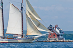 "Schooner ""Heritage"" under Full Sail near Rockland Breakwater Light, Leaving Rockland Harbor and Entering West Penobscot Bay, Rockland, ME"