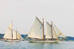 "Schooners ""American Eagle"" and ""Timberwind"" under Full Sail Departing Stonington Harbor, Deer Island Thorofare, Deer Isle, Stonington, ME"