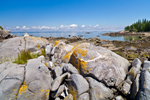 Closeup View of Boulders with Lichens on Neck Island at Low Tide out to East Penobscot Bay, Seal Cove, Vinalhaven, ME