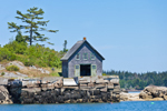 Old Boathouse at Low Tide on Fox Islands Thorofare, North Haven Island, ME