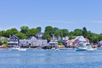 View of Waterfront and Lobster Boats in Mooring Field on North Haven Island from Fox Islands Thorofare, North Haven, ME