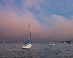 Approaching Fog over Sailboats at Sunset in Rockland Harbor, Rockland, ME