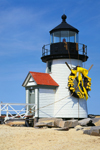 Brant Point Light in Spring, Decorated with Daffodil Wreath for Daffodil Festival, Nantucket Island, Nantucket, MA