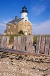 Sheffield Island Light with Wooden Breakwater Fence, Long Island Sound, Norwalk Islands, Norwalk, CT