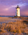 Edgartown Lighthouse with Holiday Wreath at Sunset, Martha's Vineyard, Edgartown, MA