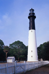 Hunting Island Lighthouse with White Picket Fence, Registered National Historic Landmark, Hunting Island State Park, Hunting Island, SC