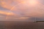 Rainbow over Sailboat Anchored on Sakonnet River at Sunset near Third Beach, Middletown, RI