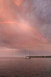 Rainbow over Sailboat Anchored on Sakonnet River at Sunset near Third Beach, Middletown, RI