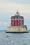 Full Moon Rising at New London Ledge Light in Late Evening, Long Island Sound, New London, CT