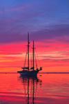 """Sunrise over Schooner """"Koukla"""" in Rockland Harbor, Rockland, ME"""