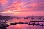 Boats in Boothbay Harbor at Predawn, View from Boothbay Harbor Yacht Club, Boothbay, Maine
