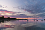 Sunset over Boats in Anchorage at Jewell Island, Casco Bay, Cumberland and Portand, ME