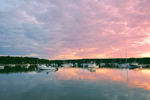 Sunset over Boats in Lake Tashmoo, Martha's Vineyard, Tisbury, MA