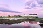 View of Oceanic Hotel and Cottages on Star Island at Sunrise, Isles of Shoals, Rye, NH