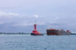 Tugboat and Barge Leaving Cape Cod Canal, Entering Buzzards Bay, Cape Cod, Bourne, MA