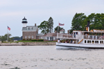 "Mystic Seaport Tour Boat ""Sabino"" near Morgan Point Light, Fishers Island Sound, Noank, Groton, CT"