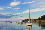 Late Evening Light over Boats in Anchorage at Jewell Island, Casco Bay, Cumberland and Portand, ME